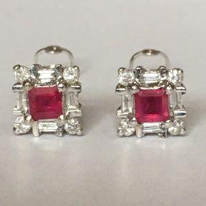 Jewelry - Vintage 14K Natural Ruby Diamond Stud Earrings